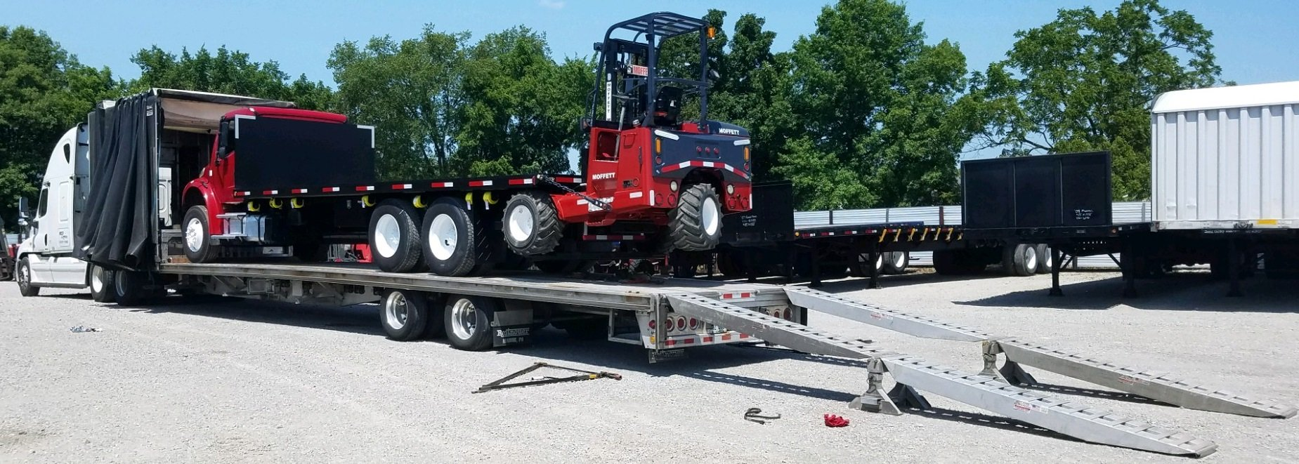 We sell trucks with a forklift on back. Moffett Truck and Princeton piggyback forklift truck